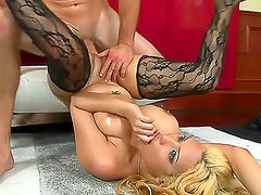 Latina in her patterned stockings laid