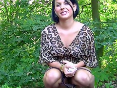 He brings her into the woods for a BJ