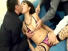 Guys finger and lick a sexy Asian lady