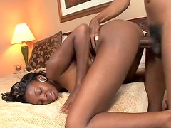 Ebony cock in her holes in hotel room