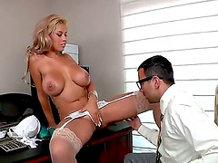 Amazing and crazy fuck with a busty whore Bridgette B and Voodoo in the office