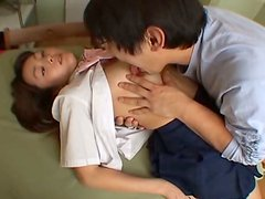 Maki Ishizaka with her hands tied up gets her pussy licked