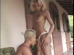 Palatable blond ladyboys provide each other with a tender but solid blowjob