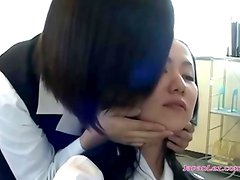 2 Office Ladies Kissing Spitting Sucking Tongues Licking Faces In The Office