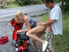 Awesome skinny Russian blonde fucking on the side of the road