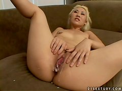 Ciera Lin the blonde Asian girl gets fucked and creampied