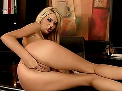 Captivating blonde Blanche is delighting her own pussy with a gigantic dildo and wild fisting