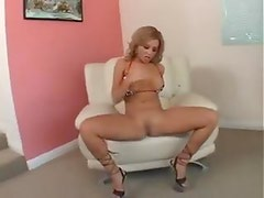 Bikini blonde solo with a dildo