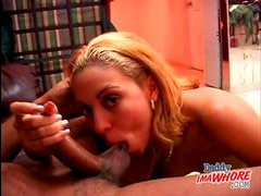 Sucking his knob is fun for the young lady