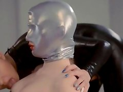 cute strapon lesbians in mask playing