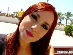 Hot Ginger Babe Gets Her Ass Cheeks Parted