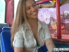 Fresh Faced Couple In Homemade Sex On The Bus