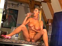 Hot Snow rubbing her pussy with a toy feeling hot moaning for more.