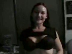 Astonishing busty cutie kneels down for giving a stout blowjob for sperm