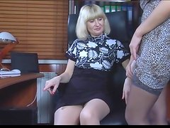 Aged lesbo makes the most of A strapon stick worn by her younger secretary