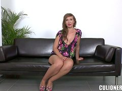 This absolute stunner gets fucked by a guy on his sofa