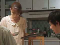 Japanese housewife gives blowjob and swallows cum