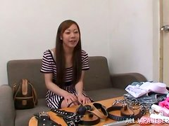 Stunning Nami Hoshino sucks and rides a cock in a resdtroom