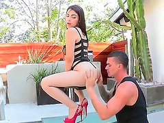 Have a glance at awesome guy Clover licking juicy love tunnel of nice Valentina Nappi