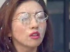 Kinky Japanese office chick gets fucked and covered with cum