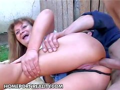 Aged slut Samantha gets her fat ass fucked deep and