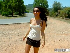 Asian bombshell takes a ride on some horny stud's prick outdoors