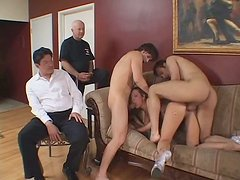 Two voyeurs enjoy Joey Valentine in threesome action