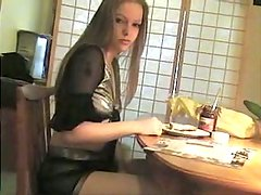 Horny Kyla King loses her temper and starts tickling fancy on the table