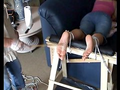 Putting needles through her toes in painful video