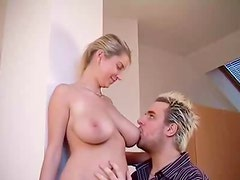 He loves to suck her hot nipples