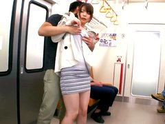 Sophia Takigawa sucks two cocks in a train and gets facialed