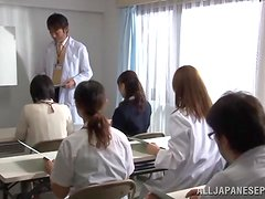 Slim Japanese female doctor gets fucked by her colleague