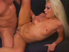 Cock hungry blondie Cindy Crawford sucks a fat strong cock and licks balls