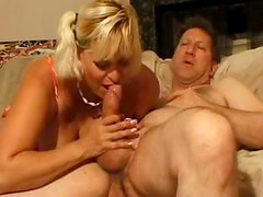 Sexy blonde cougar Pauline giving sloppy blowjob to mature fucker