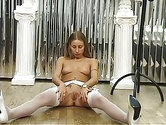 Hot dirty blonde spreads her pussy for the camera and plays with a dildo