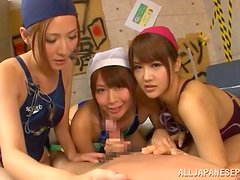 Three gorgeous Japanese girls give a blowjob in POV video