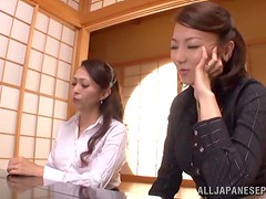Two slutty Japanese chicks get their vags pounded deep and hard