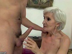 Cock hungry short haired blonde granny with sexy make up