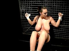 Hardcore BDSM scene with crazy lesbians named Hellena and Mandy Bright