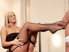 Blanche Bradburry rubbing her two legs to a hard sexy dick.