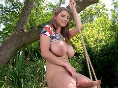 Sexy and delicious sweetie on the swing all naked outdoors