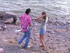 Hornie cutie is picked up for a quick dirty sex on the beach