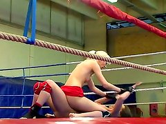 Hot and nasty fight on the boxing ring between gorgeous Alexa Wild and crazy Ashley, they are