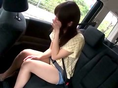 Slim Japanese girl gets toyed and fucked in a car
