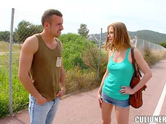 Alexis Crystal blows in the street and gets her tight butt drilled