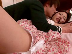 Cuffed hottie Maho Ichikawa gets her snatch eaten and fucked