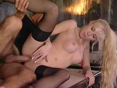 Blonde with wicked perky titties ass fucked
