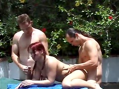 Redhead and four guys fucked outdoors
