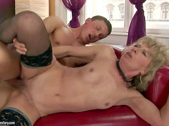 Margarette is s skinny horny granny with small tits and