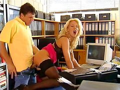 Seductive blond bitch lures her boss for a hard fuck in office